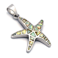 OPP1010-W Silver White Opal Starfish Pendant 23mm