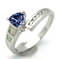 OPR1004-WTA Silver White Opal with Tanzanite CZ Ring