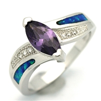 OPR1005-BPU Silver Blue Opal with Purple CZ Ring