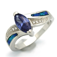 OPR1005-BTA Silver Blue Opal with Tanzanite CZ Ring