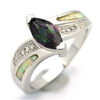 OPR1005-WMY Silver White Opal with Mystic CZ Ring