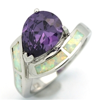 OPR1006-WPU Silver White Opal with Purple CZ Ring