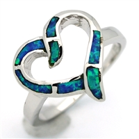 OPR1007-B Silver Blue Opal Heart Ring