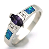 OPR1008-BPU Silver Blue Opal Purple CZ Ring