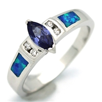 OPR1008-BTA Silver Blue Opal Tanzanite CZ Ring