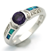 OPR1009-BPU Silver Blue Opal Purple CZ Ring