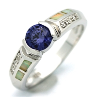 OPR1009-WTA Silver White Opal Tanzanite CZ Ring