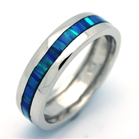 OPR1010-B Silver Blue Opal Band Ring
