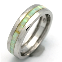 OPR1010-W Silver White Opal Band Ring