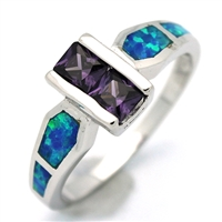 OPR1011-BPU Silver Blue Opal Purple CZ Ring