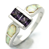 OPR1011-WPU Silver White Opal Purple CZ Ring