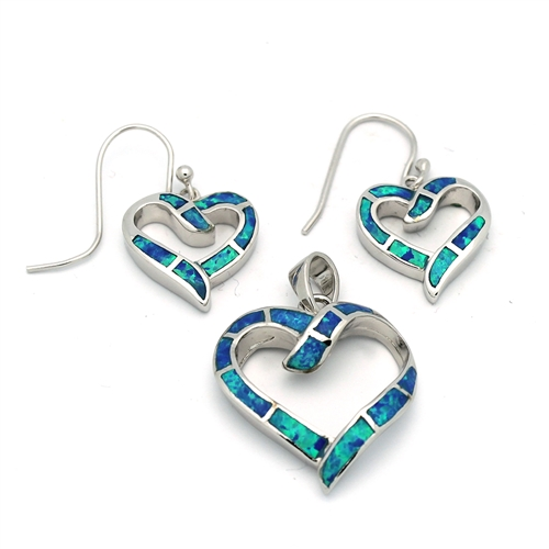 Silver blue opal heart pendant earrings set ops1006 b silver blue opal heart pendant earrings set aloadofball Gallery