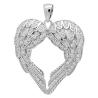 PCZ1019 - Silver CZ Angel Wings heart Pendant
