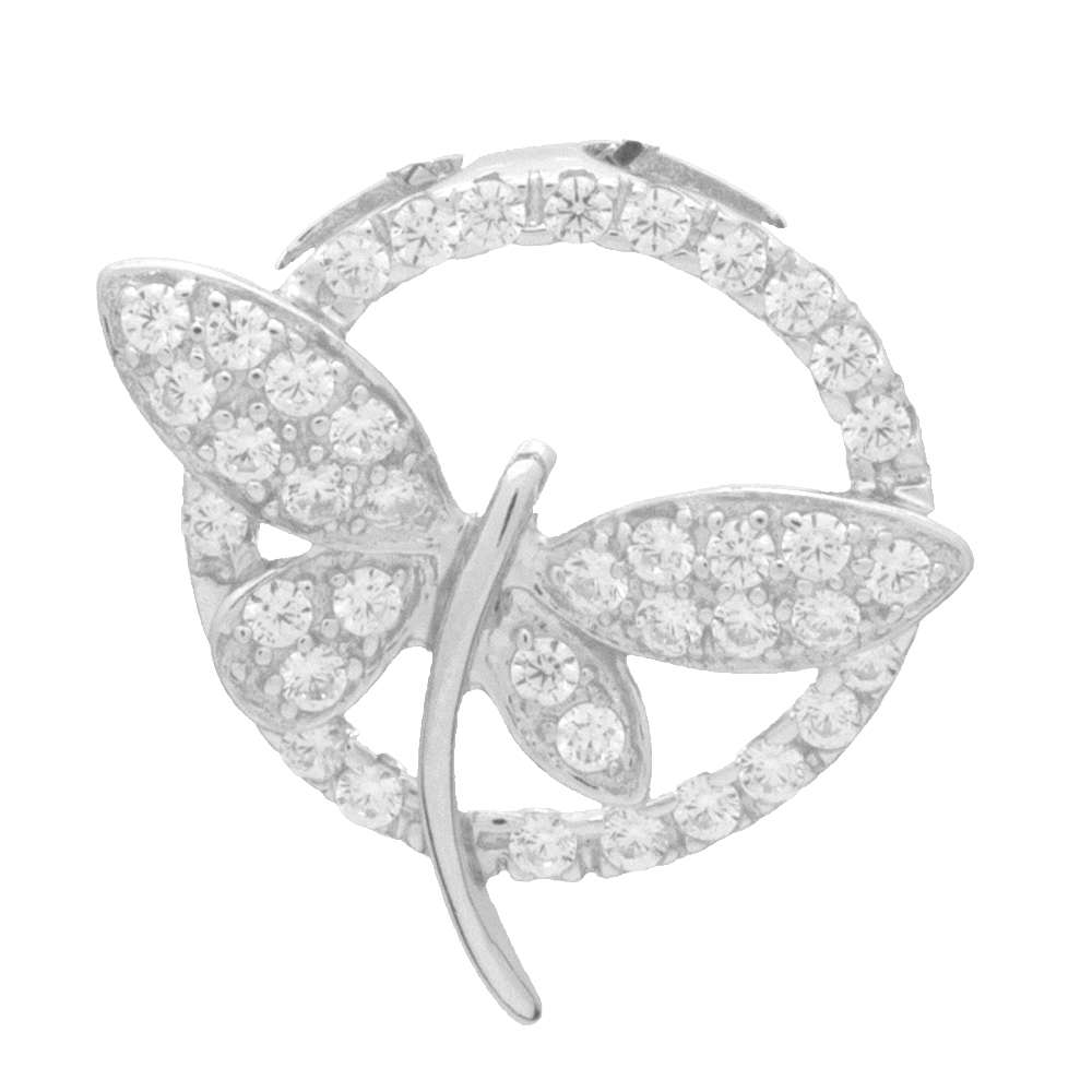 Cz pendants pcz1058 sterling silver cz dragonfly circle pendant aloadofball Image collections