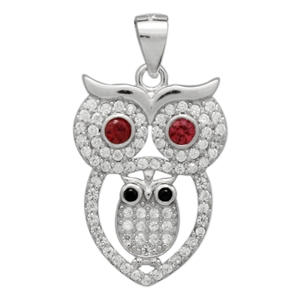 PCZ1070 Sterling Silver Red Ruby CZ Owl Charm Pendant