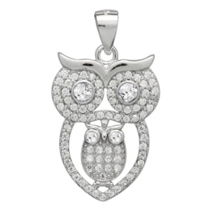 PCZ1072 Sterling Silver Clear CZ Owl Charm Pendant