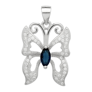 PCZ1073 Sterling Silver Blue Sapphire CZ Butterfly Charm Pendant