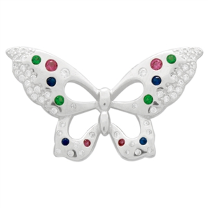 PCZ1077 Sterling Silver Multi-Colored CZ Butterfly Charm Pendant