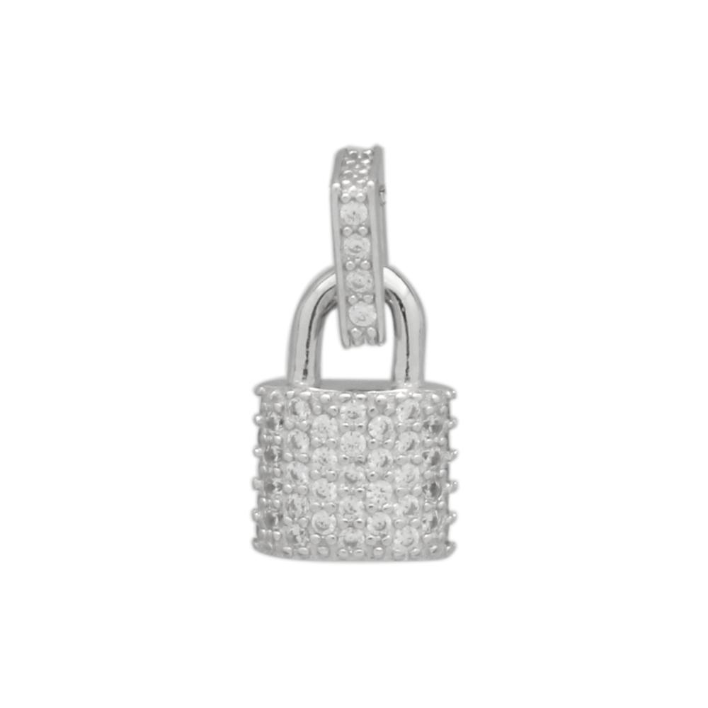 Sterling Silver CZ Lock Charm Pendant