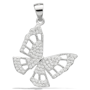 PCZ1084 Sterling Silver CZ Butterfly Charm Pendant
