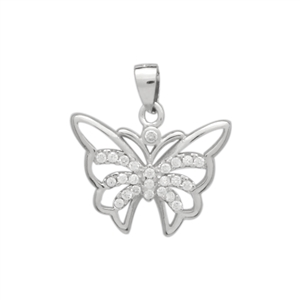 PCZ1085 Sterling Silver CZ Butterfly Charm Pendant