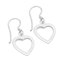 PES1004- Silver Plain Open Heart Dangle Earrings