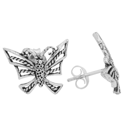 PES1008- Silver Plain Filigree Butterfly Stud Earrings