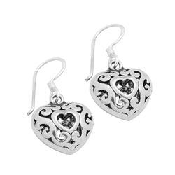 PES1009- Silver Plain Filigree Dangle Heart Earrings