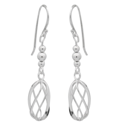 PES1013- Silver Plain Long Spiral Dangle Earrings