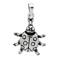 PHP1006 - Silver Movable Lady Bug Pendant 22mm