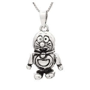 PHP1037- Sterling Silver Movable Doraemon Cat Pendant