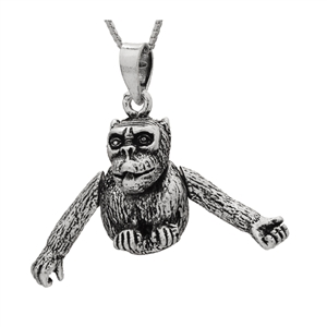 PHP1046- Sterling Silver Movable Monkey Pendant Big Version