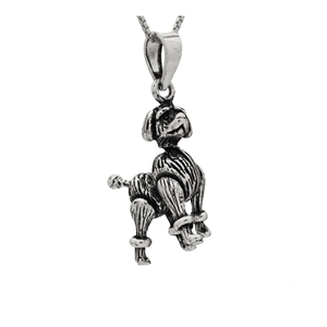 PHP1060- Sterling Silver Movable Poodle Dog Pendant