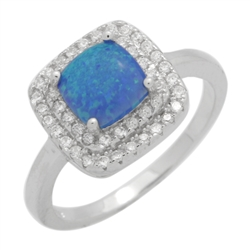 7mm Square Cushion-cut Lab Blue Opal Accent CZ Womens Ring Sterling Silver .925 Stamped