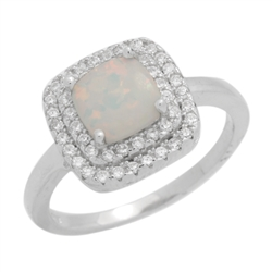 7mm Square Cushion-cut Lab White Opal Accent CZ Womens Ring Sterling Silver .925 Stamped