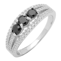 Silver CZ Ring- Black