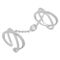 Silver CZ Ring - 2-piece Criss Cross Style