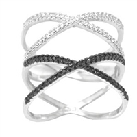 Silver CZ Ring - Criss Cross