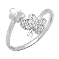 Silver CZ Ring - Butterfly