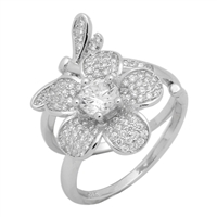 Silver CZ Ring - Flower and Dragon Movable Ring