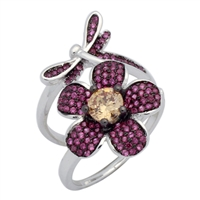 Silver CZ Ring - Flower and Dragonfly Movable Ring - Ruby