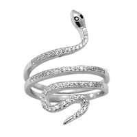 Silver CZ Ring - Snake - Clear