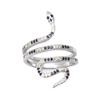 Silver CZ Ring - Snake - Yellow and Black CZ