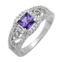 Silver CZ Ring - Filigree - Amethyst