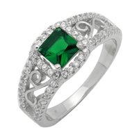 Silver CZ Ring - Filigree - Emerald