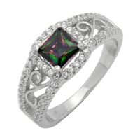 Silver CZ Ring - Filigree - Rainbow Topaz