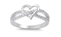 Silver CZ Ring - Heart