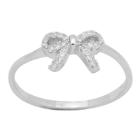 Silver CZ Ring - Ribbon