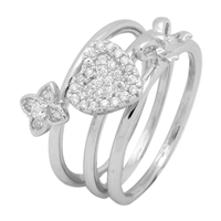 Silver CZ Ring - 3-Piece Set -  Heart, Ribbon and Flower