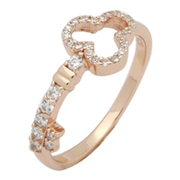 RCZ104001-RG Silver CZ Key Ring Rose Gold Plated